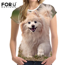 Cute Pets T Shirt Women, 3D Dog, Cat Elastic Ladies Short sleeve Casual T-shirt
