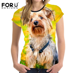 T Shirt Yorkshire Dog Tees Cute Tops Elastic Ladies Shirt