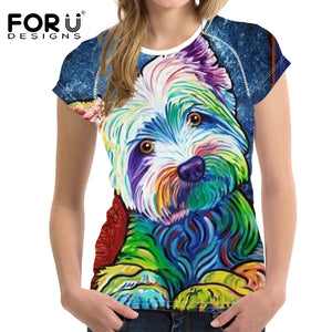 Woman Tops T-shirt Bright Yorkshire Bulldog 3D Short Sleeved Cute T Shirt