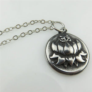 Antique Pewter Stainless Steel Lotus Flower Om Hindu Sign Collar Choker Necklace 18""