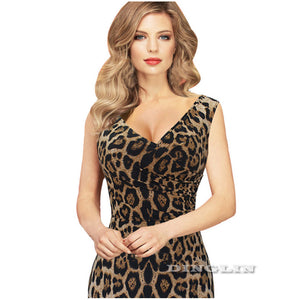 Ladies Summer Leopard Dress Sleeveless Printed Party Pencil Sheath Dress