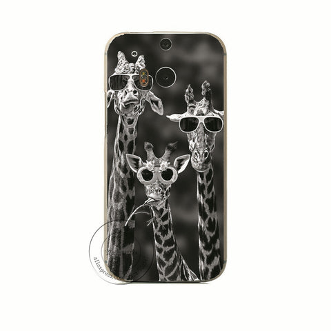 Funny Giraffe With Glasses Cover For HTC One M7 M8 M9