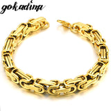 Men bracelet byzantine stainless steel links chain for man new jewelry