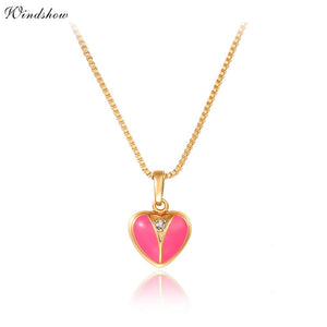 Gold Color Pink Peach Heart CZ Zircon with Stud Earrings, Ring, Pendant, Necklace Jewelry Set