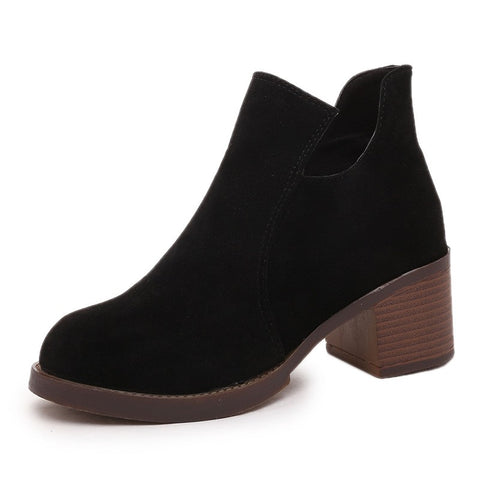 Gray Fashion Women Winter Boots Wedges Ankle Boots High Quality Suede Female Boots Warm Shoes