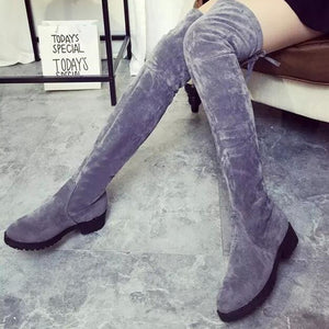 NEW Women Shoes Over Knee Thigh High Boots / Flats Long Boots Low Heel Suede Leather