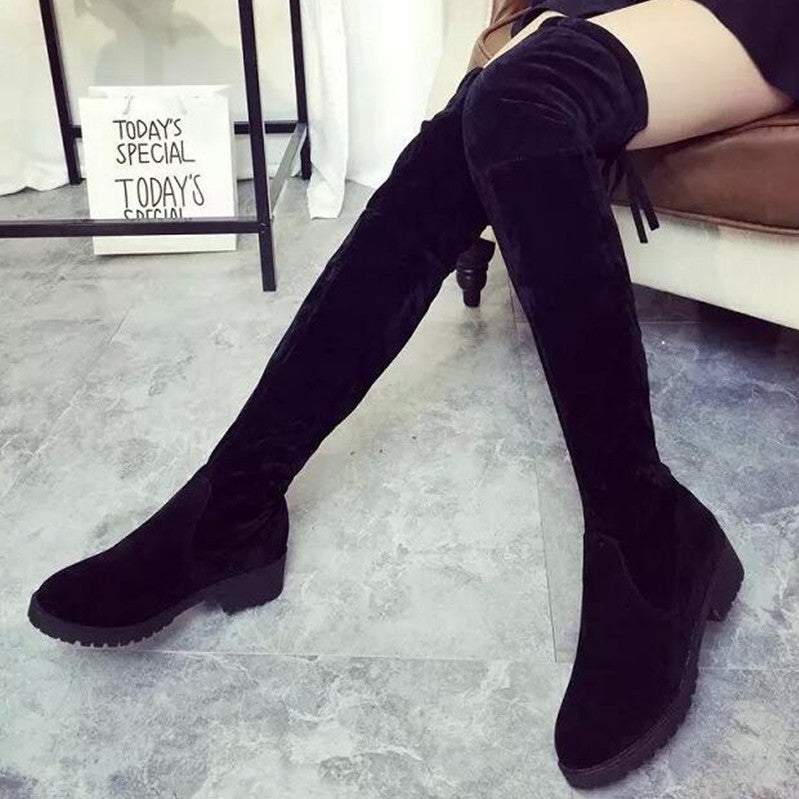 8be1e4403c923 NEW Women Shoes Over Knee Thigh High Boots / Flats Long Boots Low Heel  Suede Leather