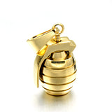 Gold Black Color Titanium Stainless Steel Grenade Necklaces for Men Jewelry