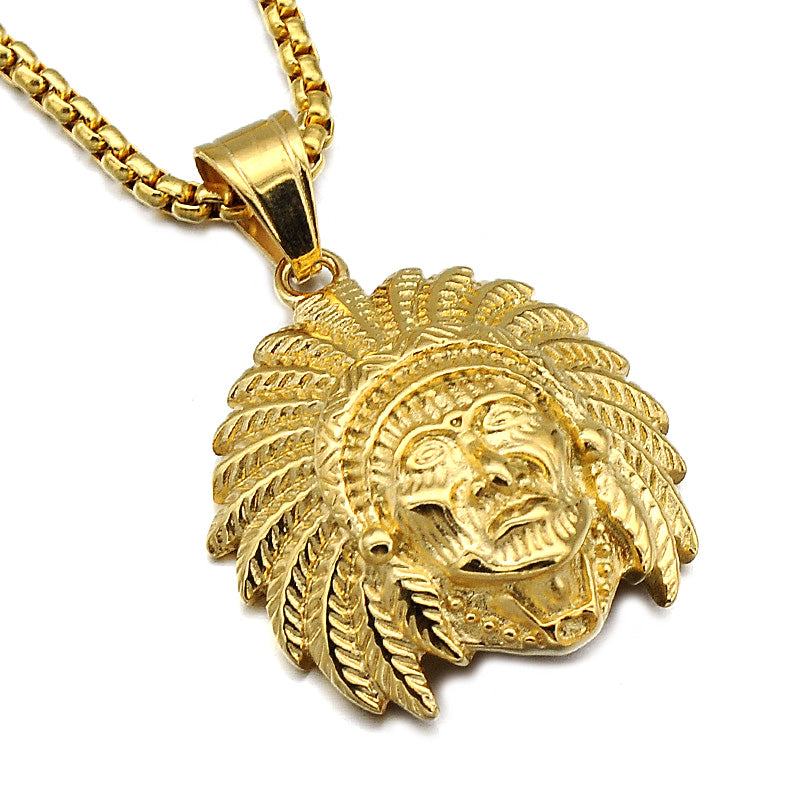 Golden Native Indian Chief Head Necklace