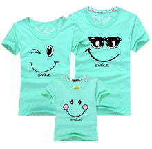 Family Matching T-Shirt. Smiling Face Short Sleeves Matching Family Outfit Set.