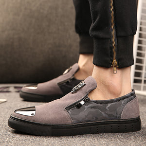 Genuine Leather Men Loafers Camouflage with zip Male Casual Designer Men Shoes Fashion Party Men Dress Shoes 2018