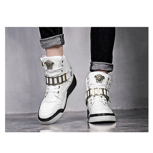 High Top Metal Buckle Male Boots Gold Metal Medusa Head Fashion Party Men Dress Shoes Flats Casual Sneakers Leather 2018