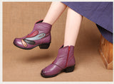 New Arrival Vintage Women Boots Genuine Leather High Heels Shoes Ladies Casual Retro Martin Ankle Boots