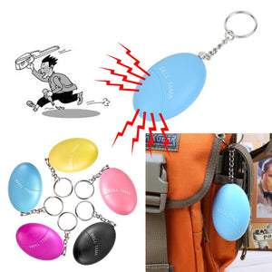 Personal Protection Egg Shape Self-Defense Alarm Protect Women / Girl Alarm System Loud Anti-Attack Keychain