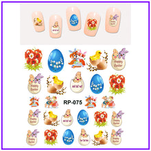 EASTER NAIL ART BEAUTY NAIL STICKER WATER DECAL. EASTER COLORFUL BUNNY FLORID EGG.