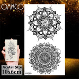 OMMGO 3D Rhombus Triangle Skull Nun Temporary Tattoo Sticker For Men Women Arm Leg Tatoo Paper Waterproof Body Art Black Tattoos