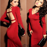 Women V Collar Bodycon Dress Autumn Elegant Party Dress