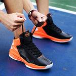 Men Basketball Sneakers Breathable Red Orange High Ankle Basketball Shoes Lace Up Basketball Sports Shoes