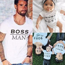Family Look Mini Boss Print T Shirts Summer Family Matching Clothes Father Mother Kids Outfits Cotton Tees New