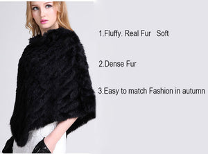 Fur Poncho 2018 Autumn Real Rabbit Triangle Knitted Women Pullover Lady Pashmina Wrap poncho