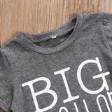 Family Cotton Clothes Big Brother T-shirt Little Sister Romper Outfit Cotton Short Sleeve Boys And Girls Clothes