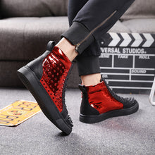 High Top Black Rivets Sneakers Red Rivets Sports Shoes Fashion / Party Waterproof Shoes