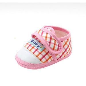 Summer Lovely Baby Fashion Girls Boys Plaid Crib Soften First Walkers Soft Bottom Anti-Slip Toddler Shoes