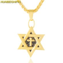 Star of David Cross Pendant & Necklace Gold Color Women/Men Chain Israel Jewish Jewelry 55CM Gold Chain