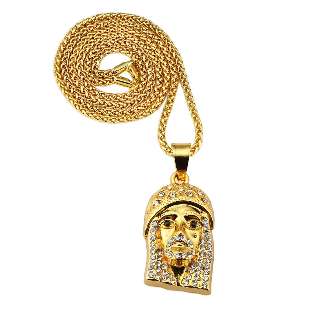 necklace jesus bling quot jewelry gold pendant plate out hip hop dp included iced