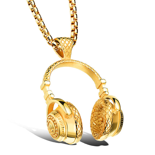 Men Necklace Stainless Steel Headphone Pendant Necklaces 2017 Fashion.