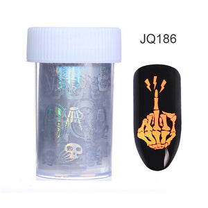 Holographic Series Nail Foil Flower Plaid Line Silver Holo Starry Transfer Sticker Manicure Nail Art Decorations