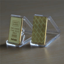 Laser serial number CREDIT SUISSE 1oz 24ct Pure Gold Plated Layered Bullion Bar Ingot Replica coin