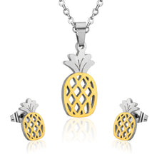 Hawaiian Style Pineapple Shape Jewelry Set Earrings, Pendent