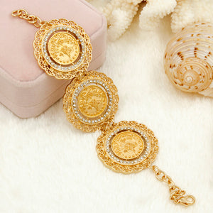 Italian Fashion Dubai Gold Coins Jewelry Set, Long Chain Necklace, Earrings, Bracelet, Ring Set.