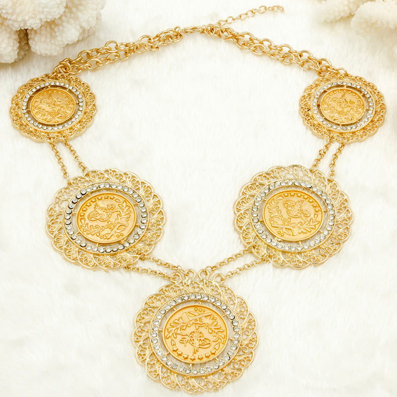 Italian Fashion Dubai Gold Coins Jewelry Set Long Chain Necklace Ear Windeal365