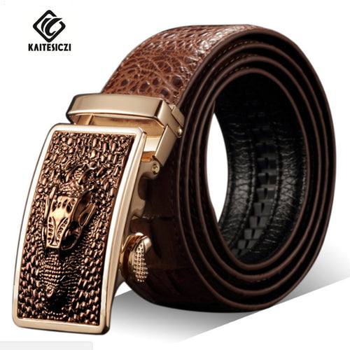 Men's leather crocodile pattern belt high quality leather automatic buckle brand belt