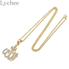 Beautiful Crystal Gold plated Name Allah Pendant Necklace.