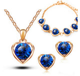 New Arrival Gold Color Crystal Heart Fashion Jewelry Set, Necklace Earrings Set.