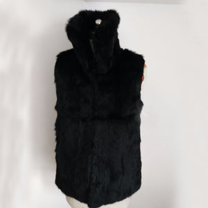 Mandarin Collar Whole Rabbit Fur Gilet Women Fashion Full Pelt Rabbit Fur Vest Natural Fur Waistcoat
