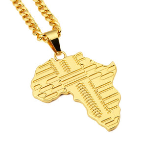 Map Of Africa Pendant Gold Color Long Chain Necklace.