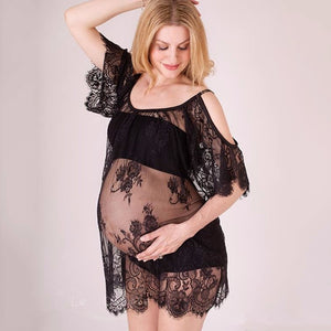 Maternity Photography Props Pregnancy Dress For Photo Shoot Maternity Clothes. Off Shoulders Lace Dress
