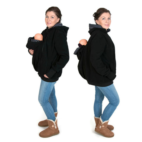 Maternity Warm Wool Hoodie Kangaroo pouch with Baby Carriers Zipper Coat Jacket Thick Fleece Hoodie