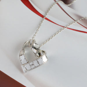 Twisted Heart shaped ruler Pendant. Measuring tape Necklace Jewelry Gift For Teacher / Student