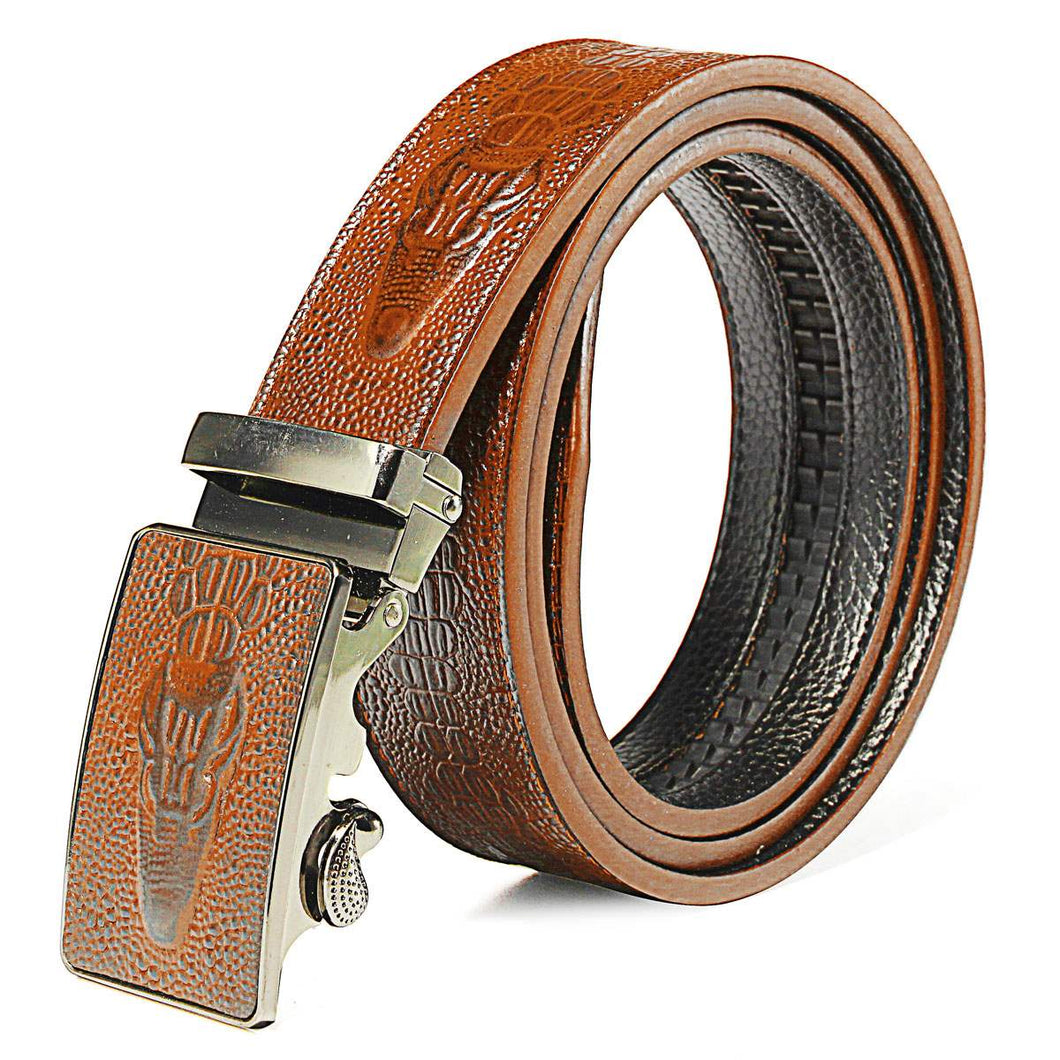 Men Crocodile Grain Pattern PU leather Belt Automatic Buckle 3 Colors