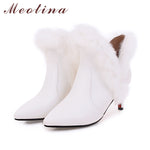 Meotina Girls Boots Winter Shoes Pointed Toe High Heel Ankle Boots Real Rabbit Fur Boots / Warm 2018 Shoes Big Size