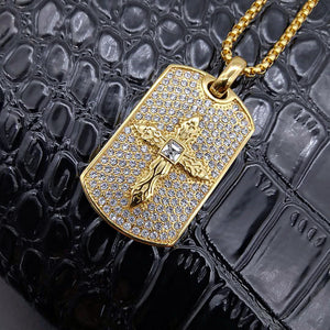 Iced Out Bling Cross Pendant Necklace Rhinestone Christian Prayer Necklace Jewelry