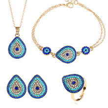 Latest High Quality Turkey Blue Eyes Women Gold Color Earrings, Necklace, Ring, Bracelet Jewelry Set.