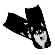 New 3D Socks Husky Dog Picture, Low Ankle Short Sock Length 19cm
