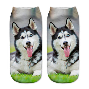 New 3D Cute Big Dog Spring Summer Low Ankle Socks Length 19cm