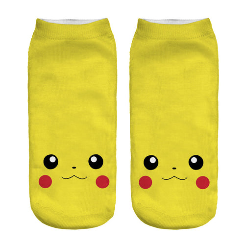 New 3D Socks Cute Pikachu Low Ankle Sock Length 19cm